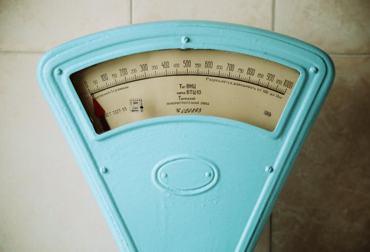 A weighing scale.