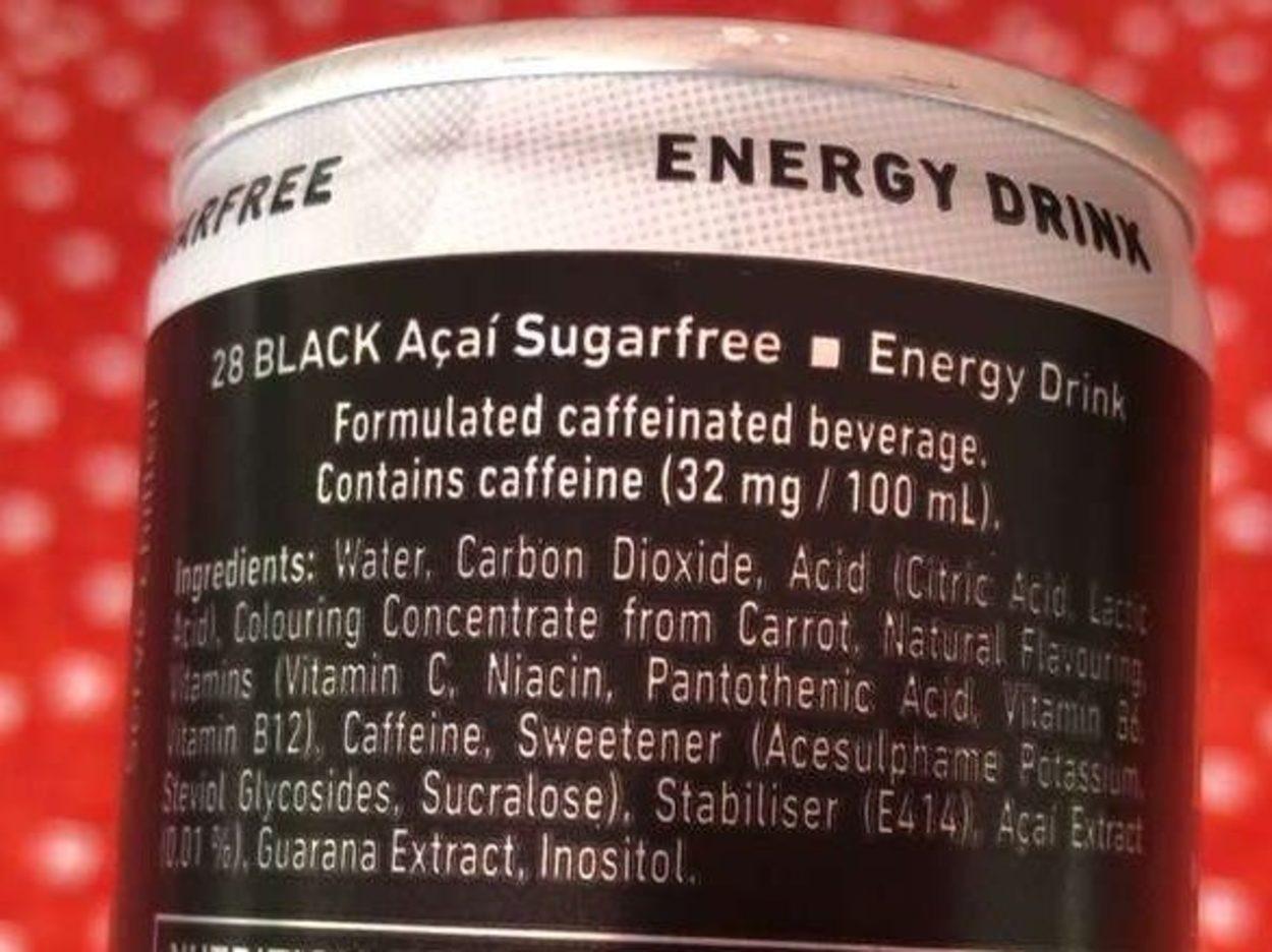 Ingredients label of 28 Black Energy Drink.