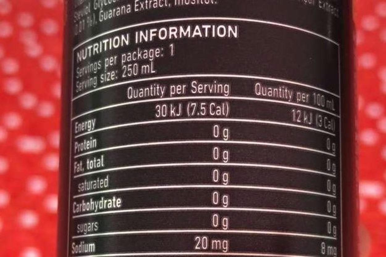 Nutrition Facts of 28 Black Energy Drink.