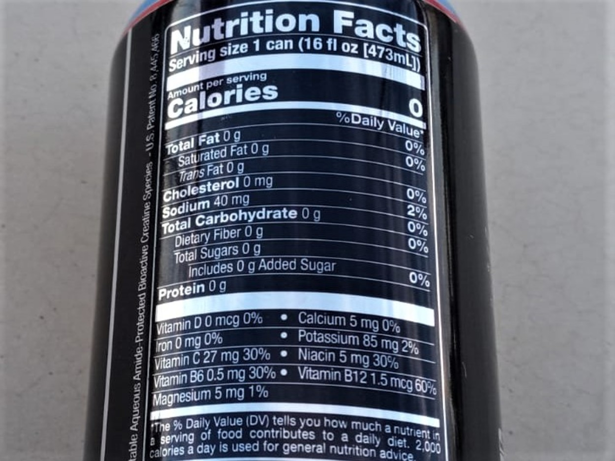 Nutrition Facts of Bang Energy Drink.