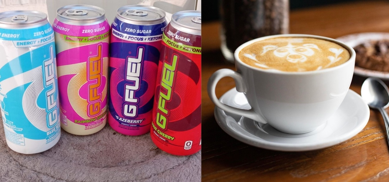 Picture of coffee and G Fuel.