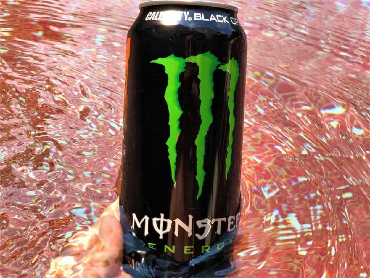 A can of Monster energy drink.