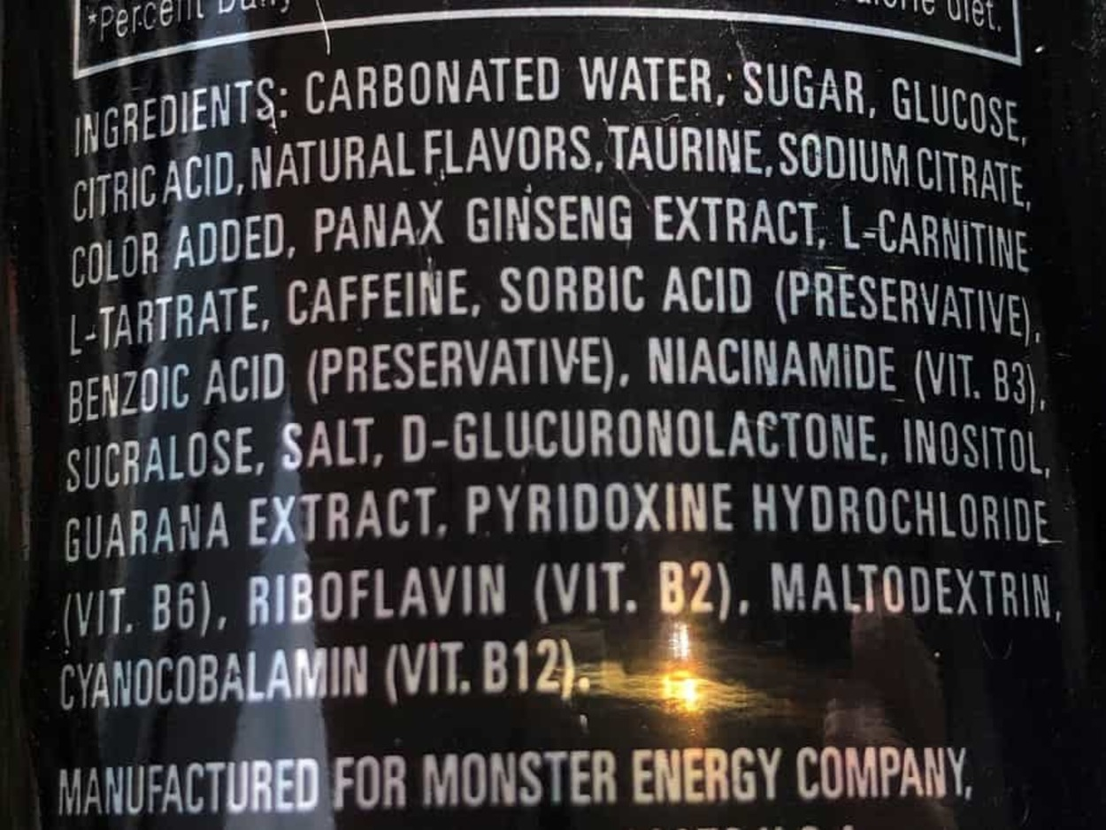 Monster Energy Drink Ingredients at the back of a can.