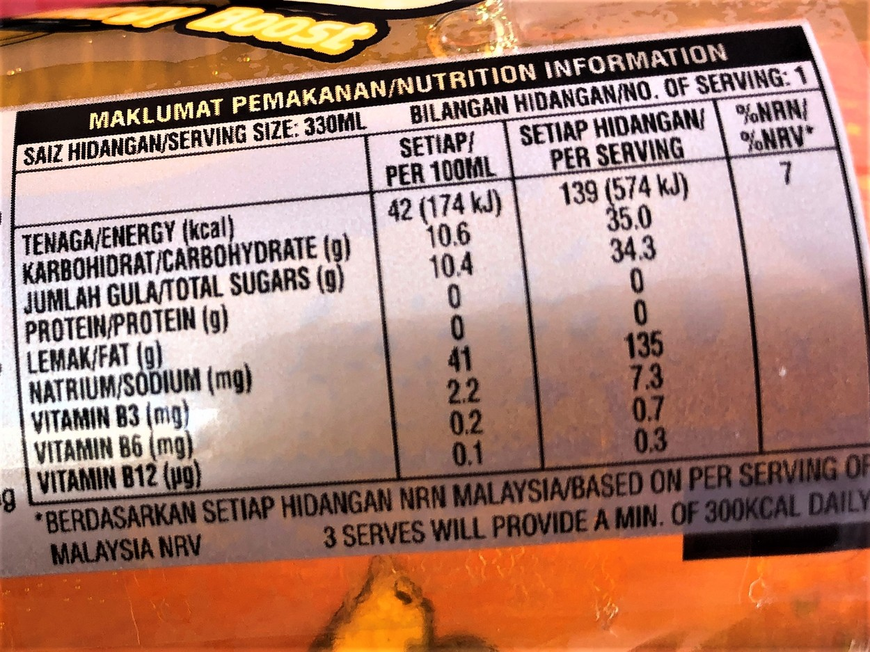 Nutritional Information of Sting Energy Drink at the back of a bottle.