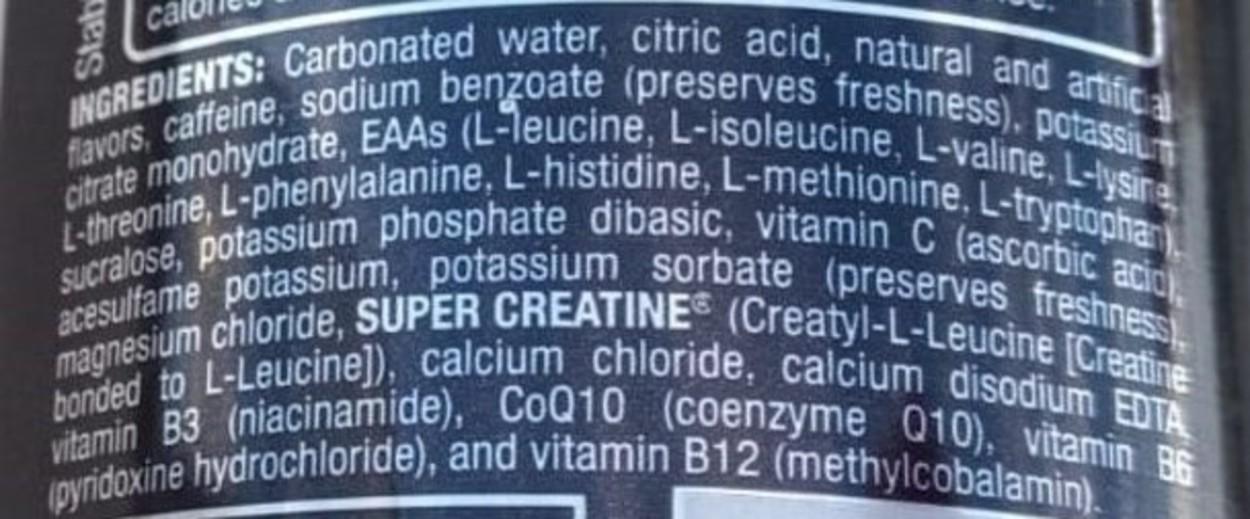 Ingredients label of Bang Energy Drink.