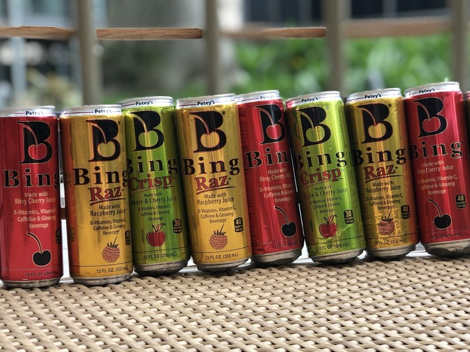 cans of Bing in a row.