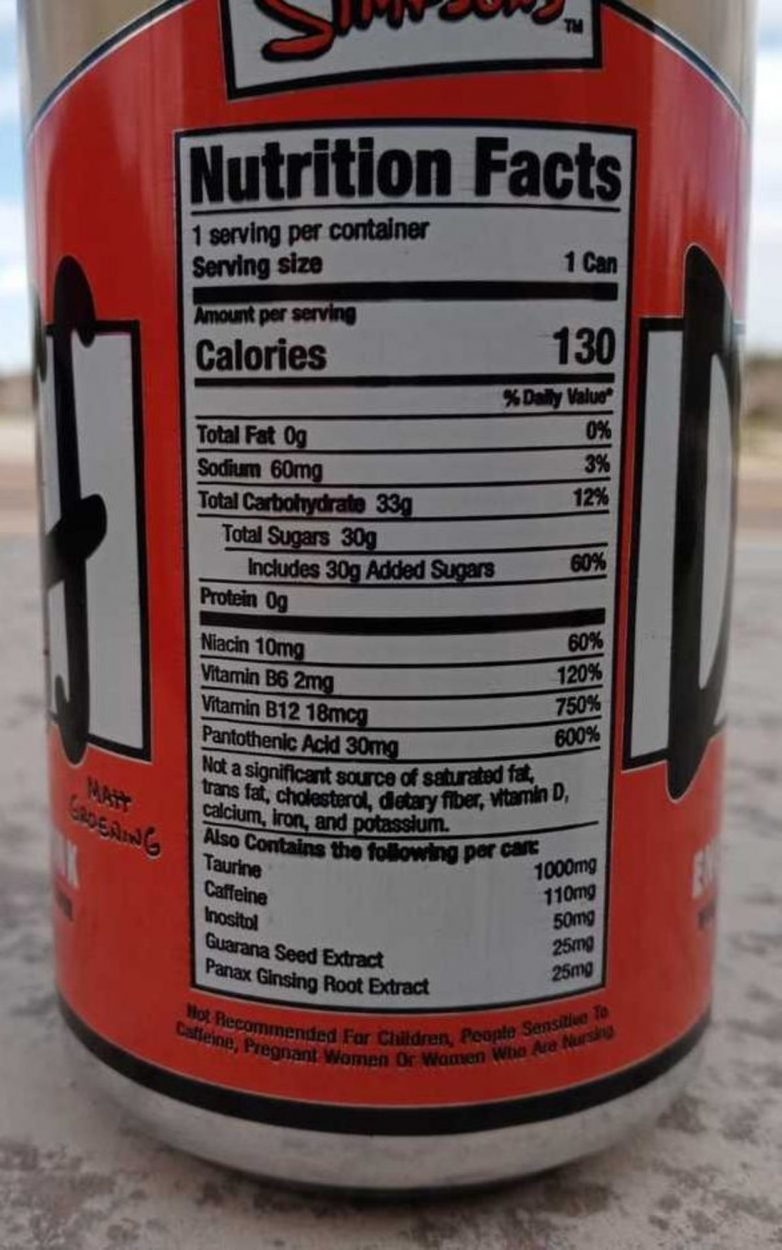 Nutritional facts label of Duff Energy Drink