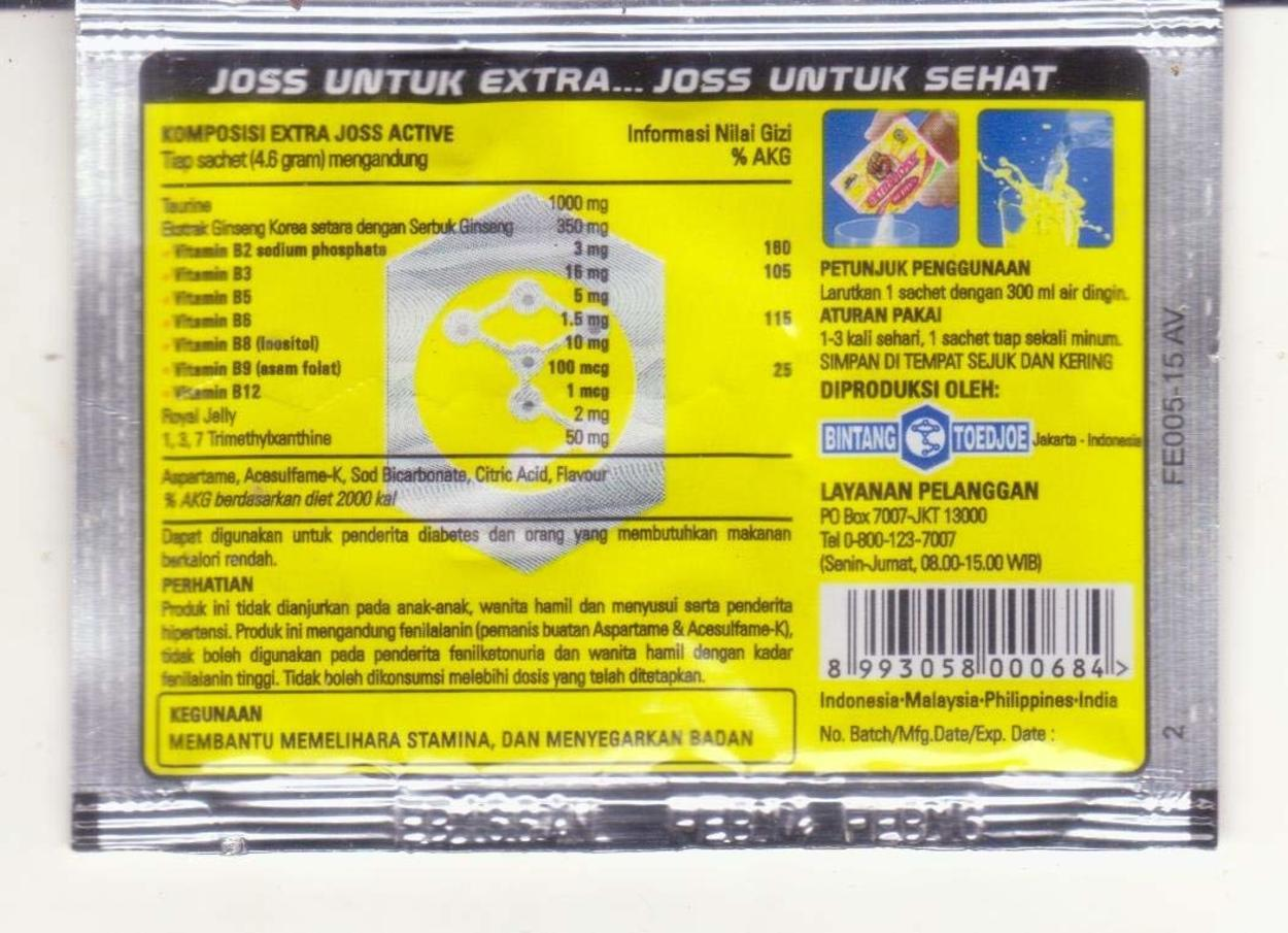 Extra Joss Ingredients at the back of a packet.