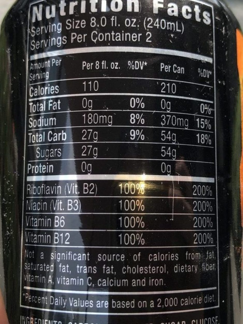 Nutritional Facts of Monster Energy Drink.