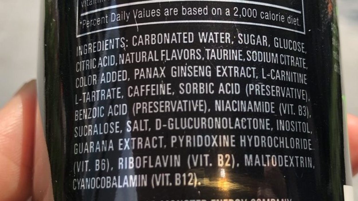 The ingredients label of Monster Energy Drink.