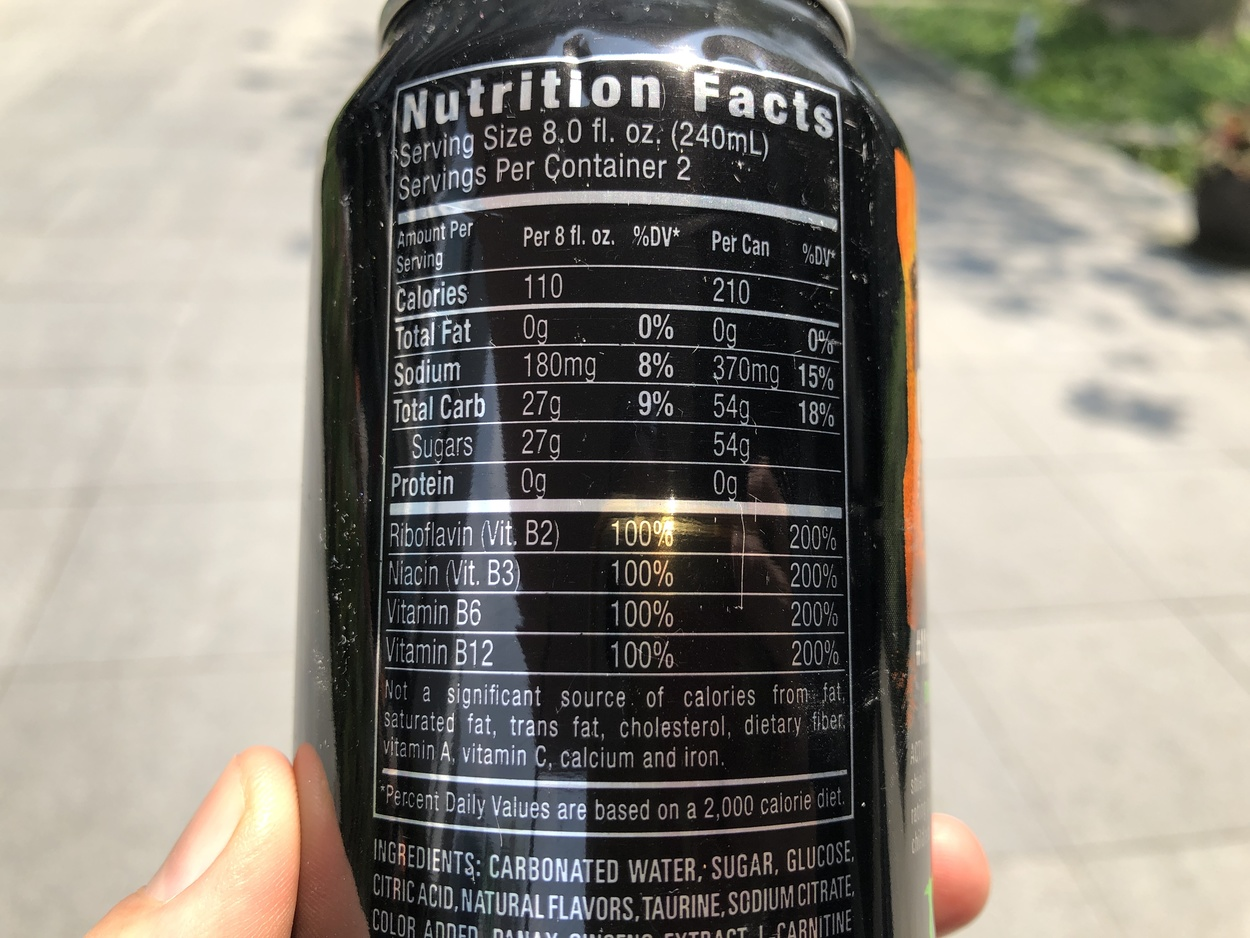 Monster Energy Drink nutritional facts.