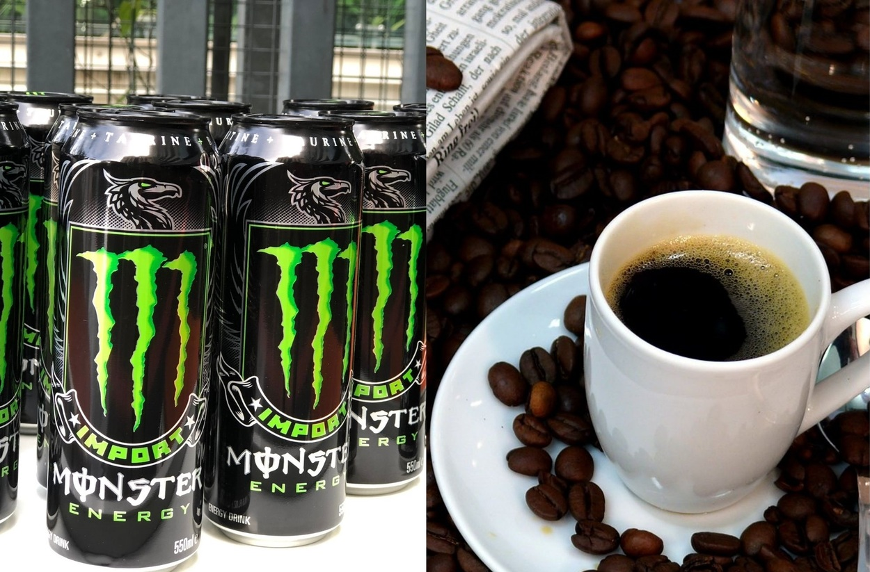 Picture of Monster and coffee side-by-side.
