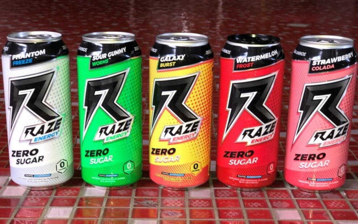 Cans of Raze Energy Drinks in a row.