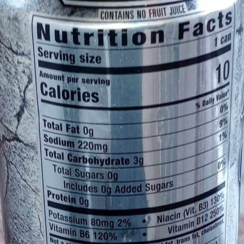 Nutritional Facts of Reign Energy Drinks.