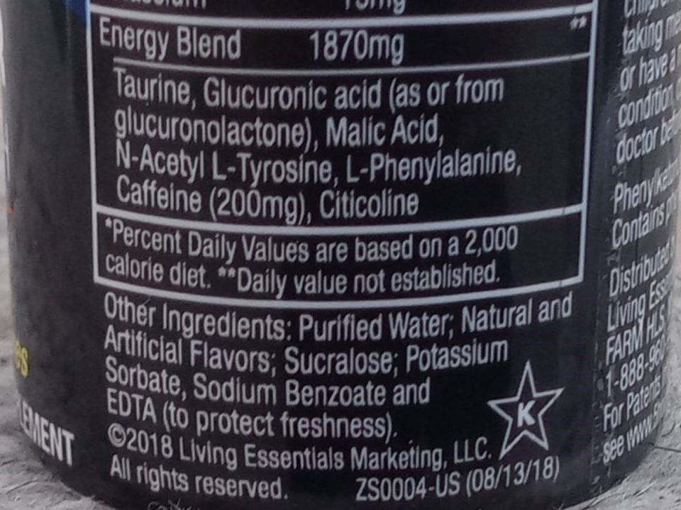 Ingredient of 5 Hour energy at the back of the can