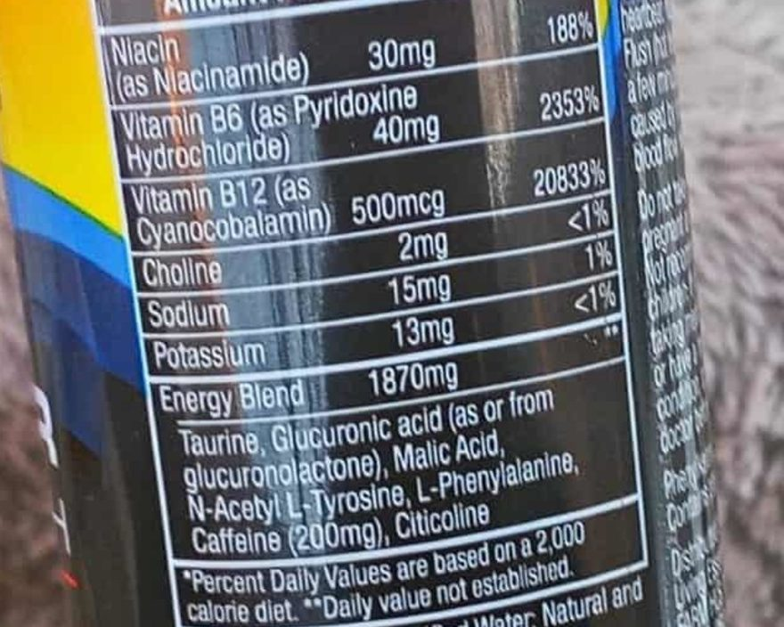 Nutritional contents of 5 Hour energy at the back of the can