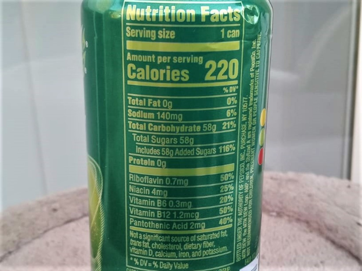 The nutritional content of the AMP energy drink at the back of the can