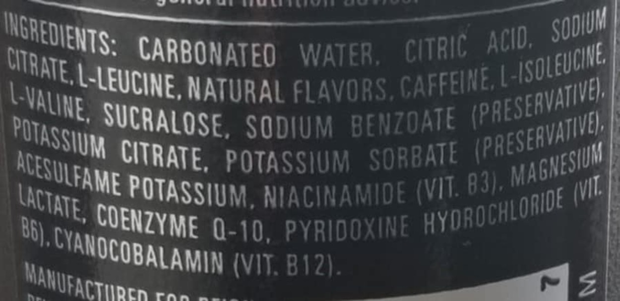 The ingredients of Reign Energy Drink at the back of the can.