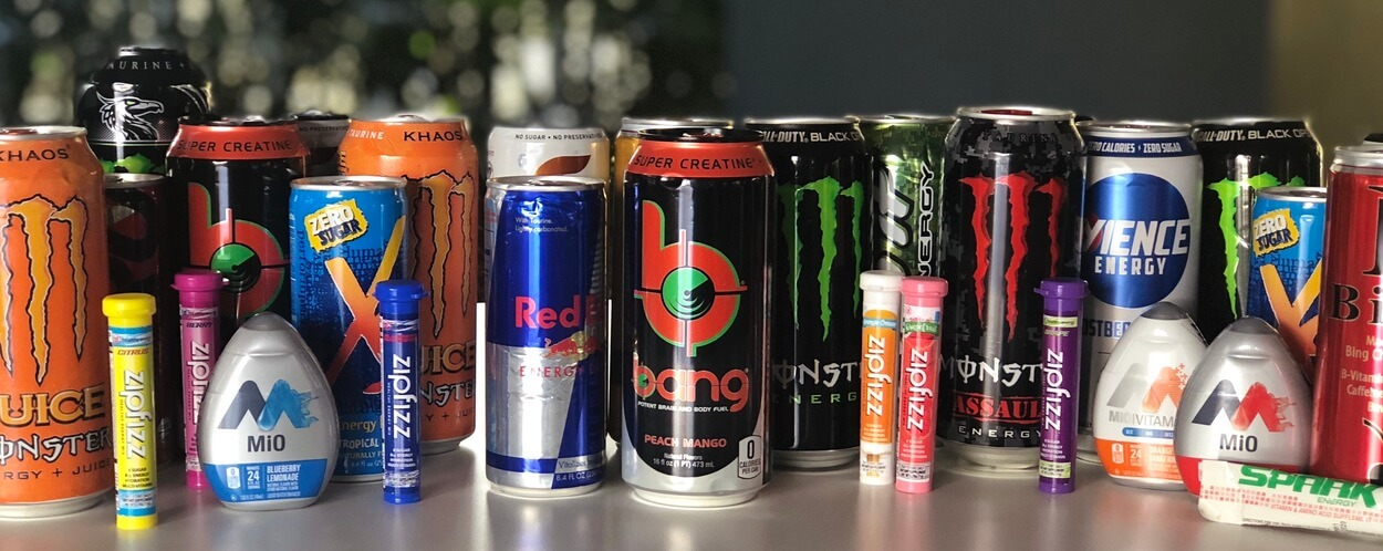 Assorted Energy Drinks Brand that could help you keep awake while driving.