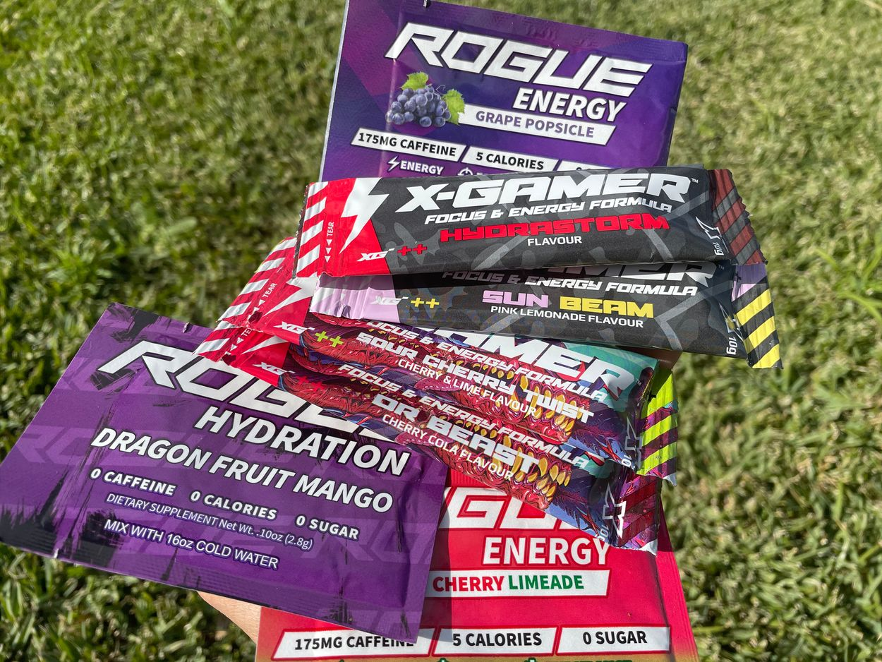 Pictute of X-Gamer energy drink sachets with Rogue Energy