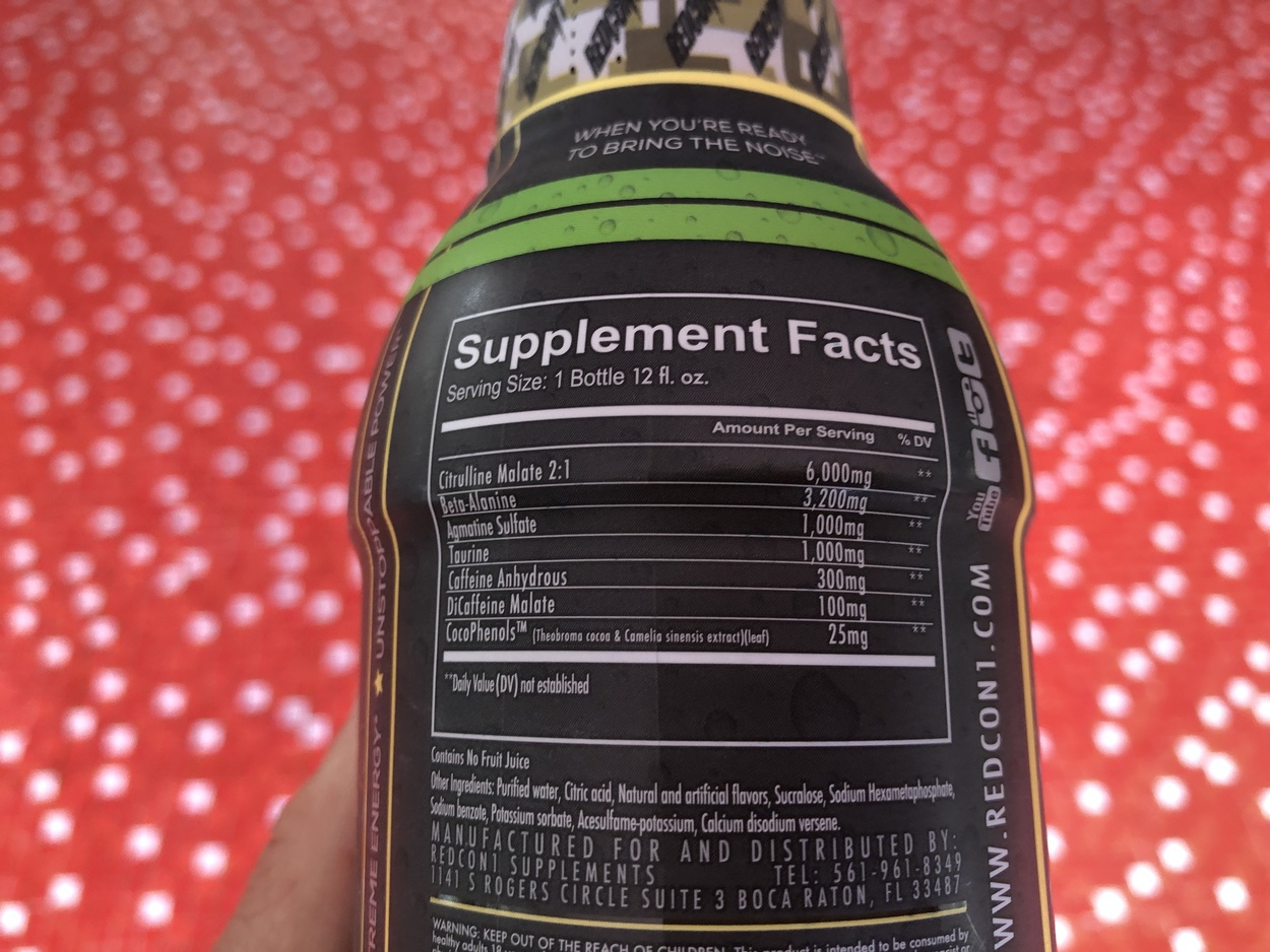 Shows the label at the back of Total War Pre-workout Bottle