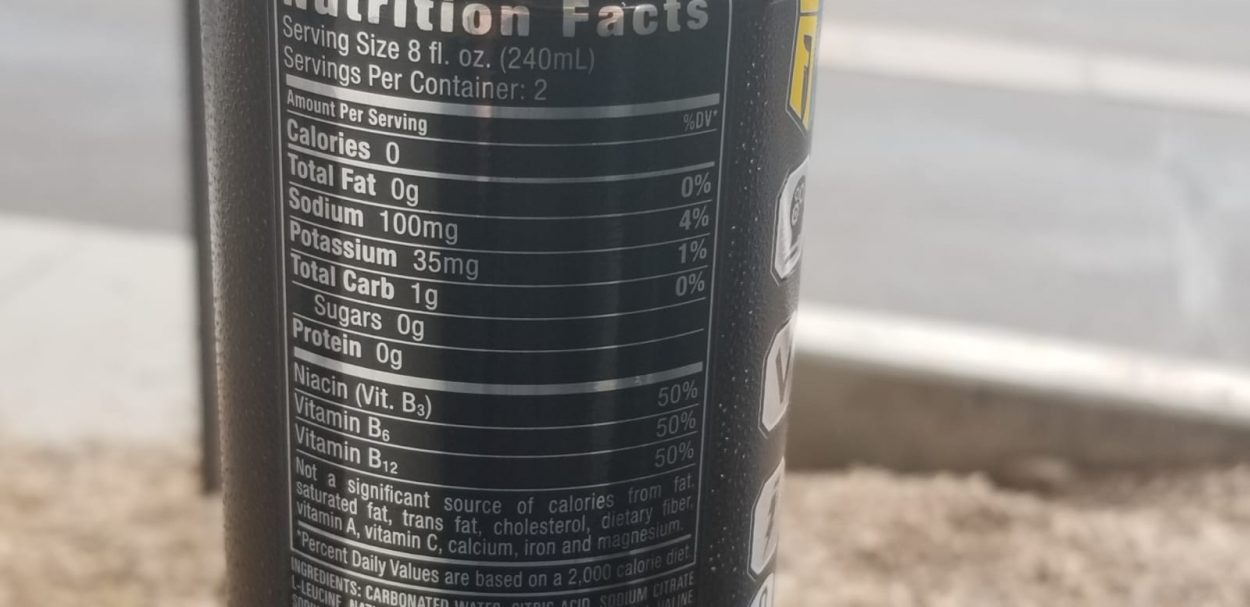 Nutrition facts of Reign energy drinks printed on the side of the can.