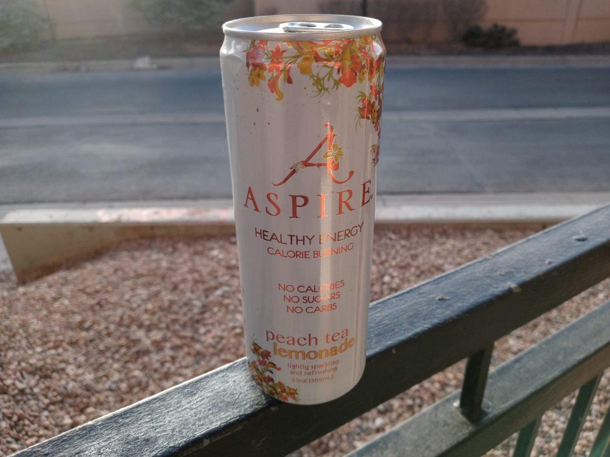 One can of Aspire energy drink peach tea lemonade flavor