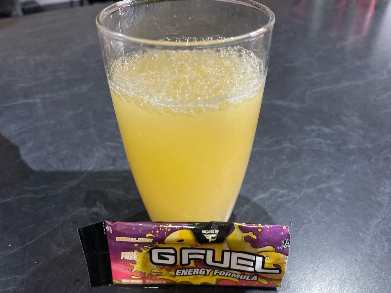Battle Juice G Fuel flavor in a glass