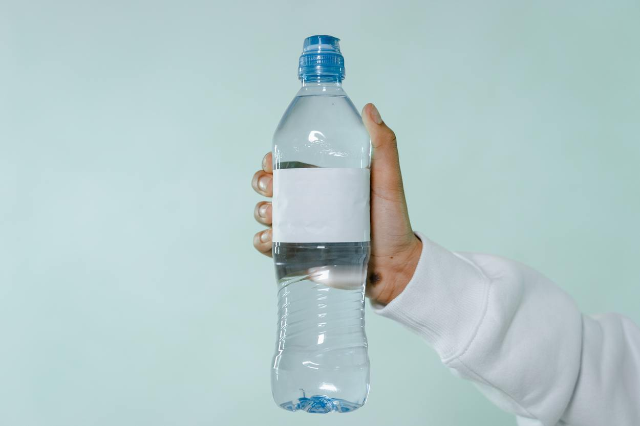Bottled Water with White Label