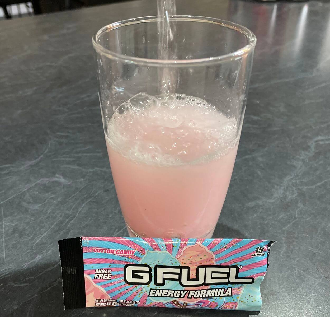 Cotton Candy G Fuel flavor mixed in a glass