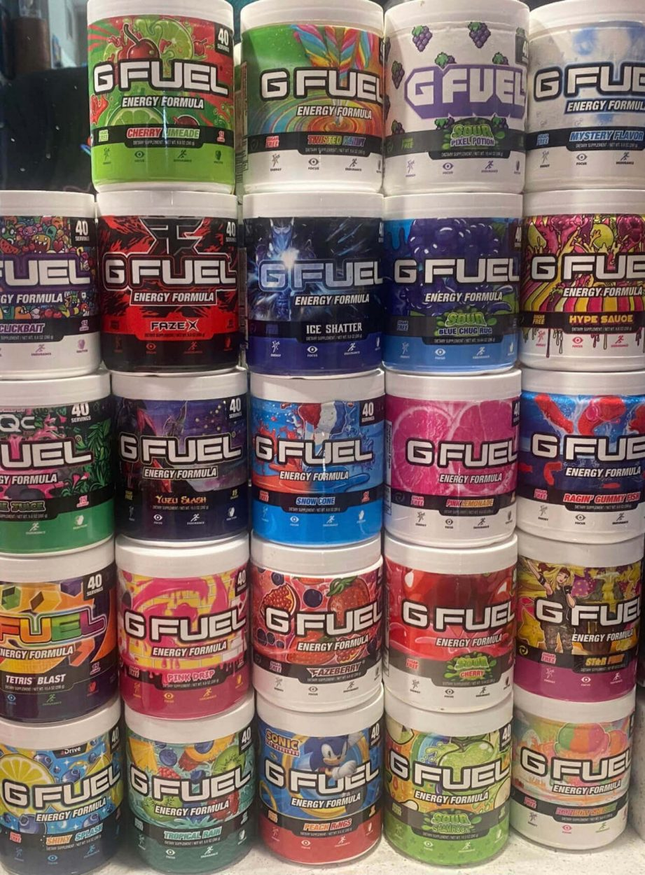 A lot of different flavors of G Fuel tubs