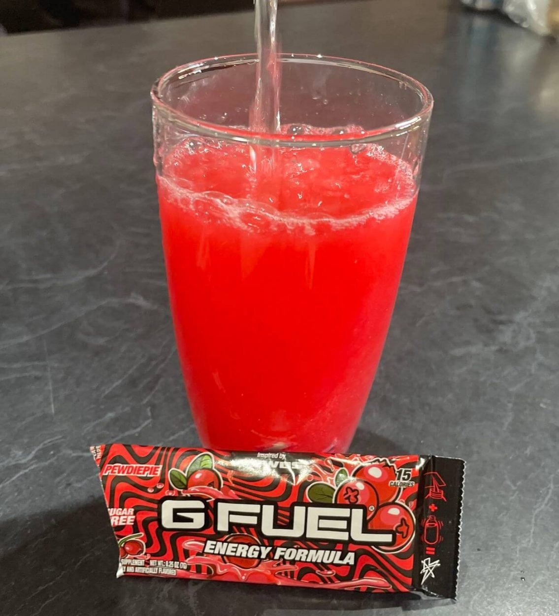 Pewds G Fuel flavor mixed in a glass