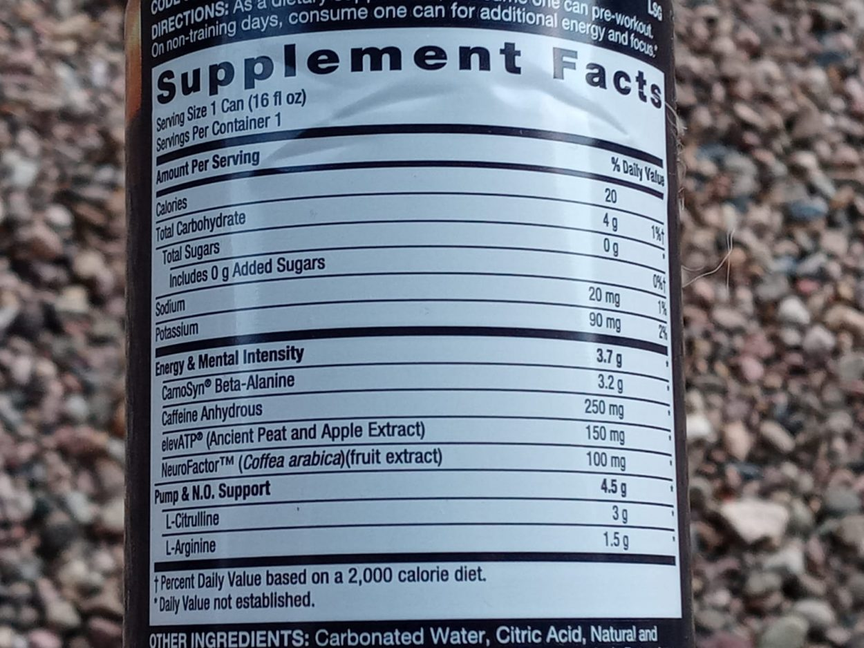 Tabulated data containing supplement facts about Lit energy drinks.