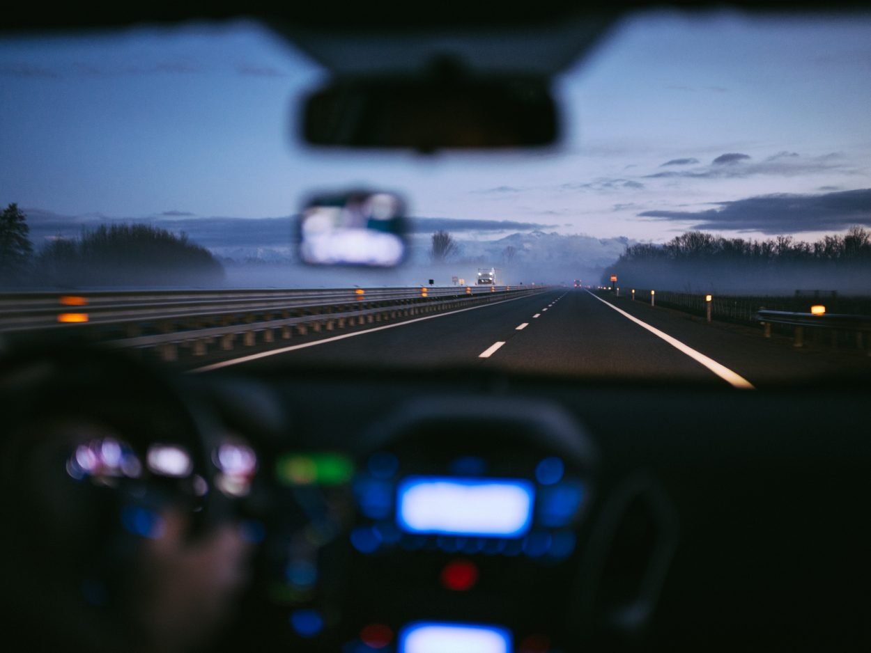 Dashboard view on an expressway.