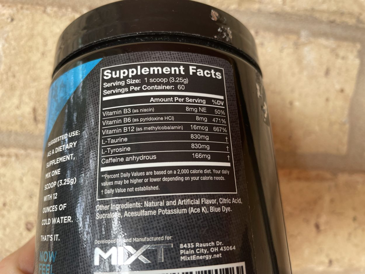 Supplement fact table printed on the side of a MIXT Energy tub,